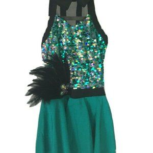 WEISSMAN dance costume girls size SC Teal Green Bl